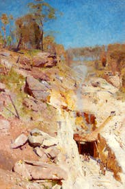 'Fire's On', 1891, by Arthur Streeton, a member of the Heidelberg School, named after a village outside Melbourne