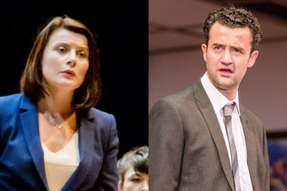 Opposing sides: Monica Dolan, the super-brainy lawyer, and Daniel Mays (Andrew)