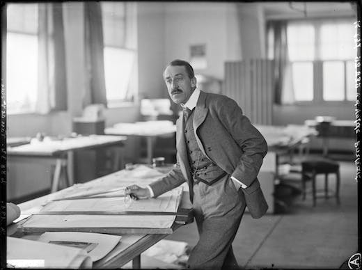 Henry van de Velde in his studio at the School of Crafts in Weimar, 1908 Photo Louis Held, Weimar © Fonds Henry van de Velde, ENSAV – La Cambre, Brussels