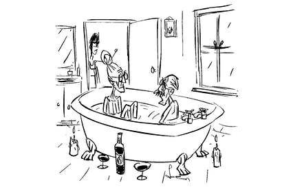 'This would have been even more romantic if we didn't need the home-help to lift us in and out of the bath.'