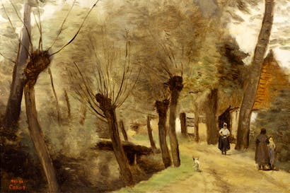 'Path bordered with willows near Bethune', 1874, by Camille Corot