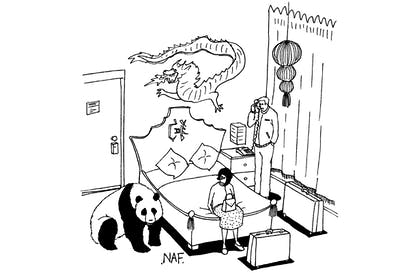 'We are very happy with the Chinese-themed room but could you remove the panda, please.'