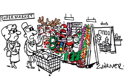 'Look at all this Christmas stuff — there's no room for any Easter eggs.'