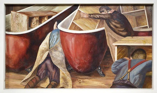 WASHING LOCKERS by Stanley Spencer (1891- 1959) on the south wall at Sandham Memorial Chapel, Burghclere, Hampshire.