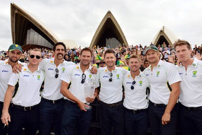 Psychological victory: Mitchell Johnson and team-mates