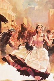 Scarlett O'Hara runs through the streets of burning Atlanta