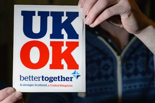 Scottish Referendum 'Better Together' Campaigners On The Streets Of Glasgow