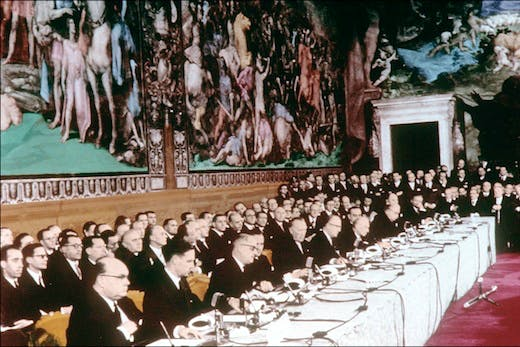 Foreign affairs ministers at the 'Treaty of Rome' creating the European Economic community (EEC) and the Euratom, March 25, 1957 Photo: AFP/Getty