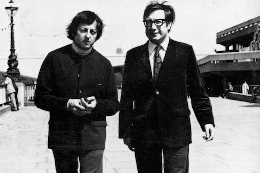 Edward Greenfield with André Previn in front of the Royal Festival Hall, c.1970.