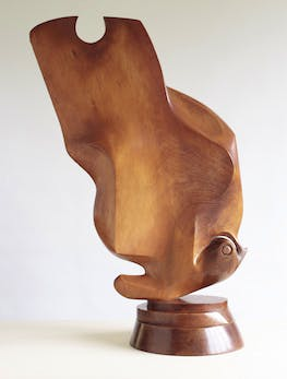 """Mahogany sculpture 'Butterfly""""by Gertrude Hermes"""