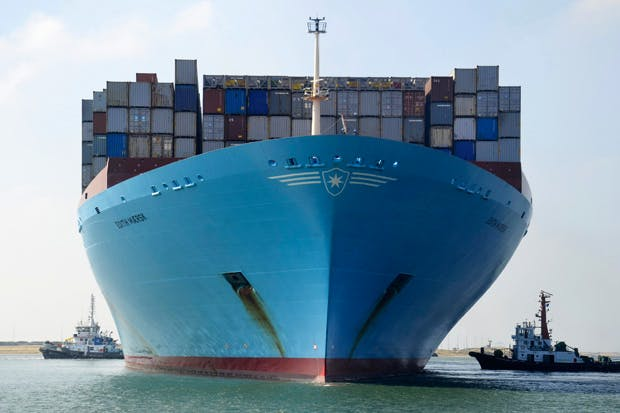 The Edith Maersk in the Suez Canal, October 2012