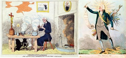 Edmund Burke (left) and Thomas Paine, caricatured by Gillray and Cruickshank respectively