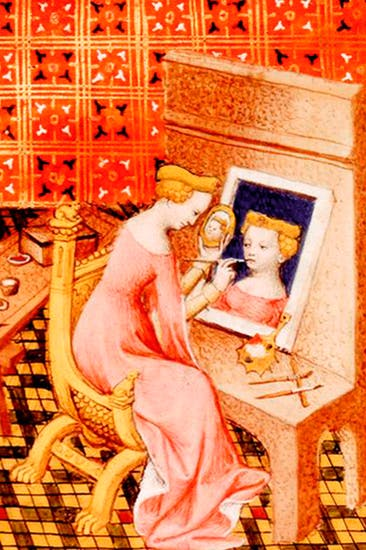 'Marcia painting her self-portrait'; detail from Boccaccio's On Famous Women (1402)