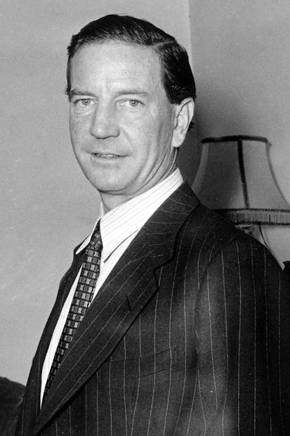 Kim Philby at the press conference he called in 1955 to deny being the 'Third Man'