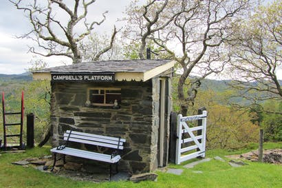 Campbell's Platform, a private unstaffed halt on the Welsh narrow guage Ffestiniog railway