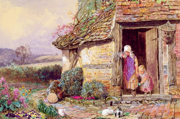 'At the Cottage Door', by Myles Birket Foster (1825–99)