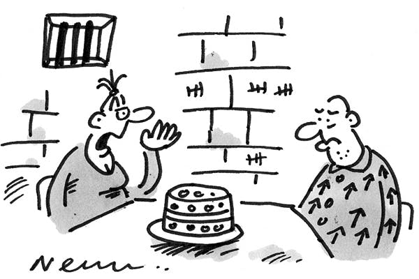 'There's a copy of Crime and Punishment in the cake.'