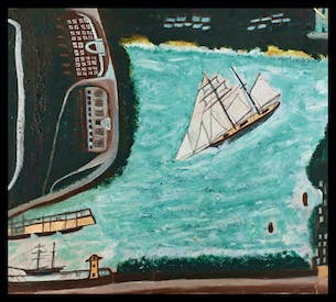 'The Schooner the Beata, Penzance, Mount's Bay and Newlyn Harbour' by Alfred Wallis,