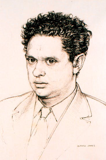 One of three portraits of Dylan Thomas by Alfred Janes