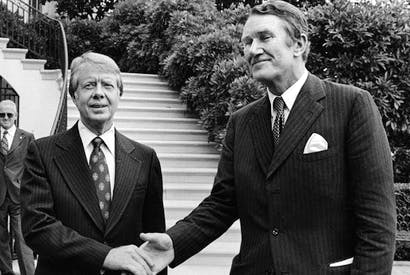Long goodbye: Malcolm Fraser with Jimmy Carter
