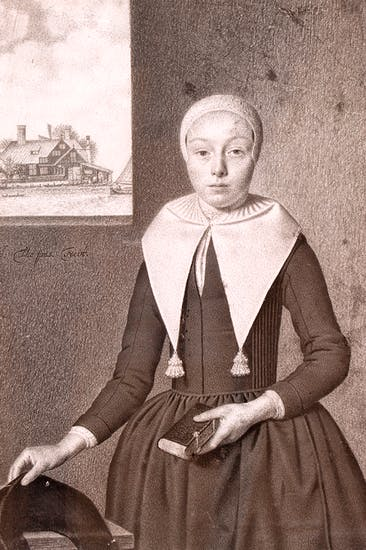 Portrait of a young woman with a bible in her hand by Johannes Thopas, 1680–85