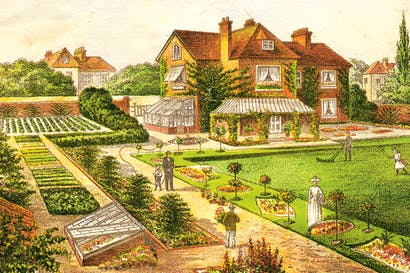 From 'Amateur Gardener', c. 1890, showing the much sought after suburban garden at its most perfect