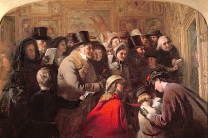 Who's in, who's out: George Bernard O'Neill's 'Public Opinion' depicts a private view of the annual exhibition at the Royal Academy