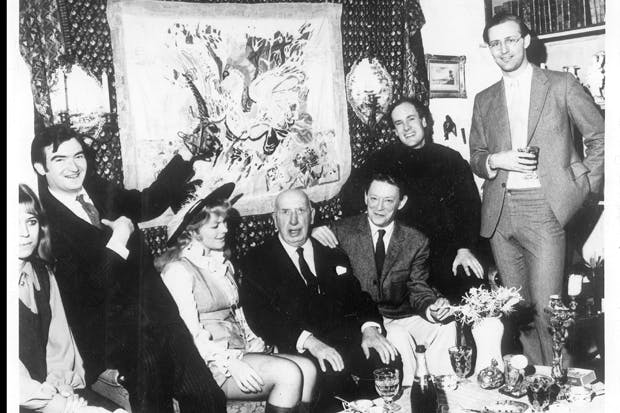 Joining the old rogue on his 80th birthday, from left to right, Bevis Hillier, Antonia Fraser, Hamilton, James Pope-Hennessy, James Reeve, and the Spectator's current book editor, Mark Amory