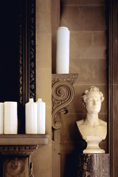 'A Sounding Line' (2006–7). Detail of de Waal's 66 porcelain vessels in white and celadon glazes, Chatsworth House, Derbyshire