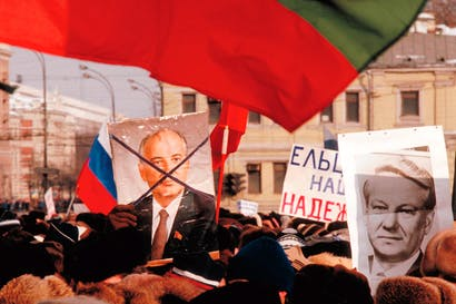 An anti-Soviet rally in Moscow, February 1991: Gorbachev's reforms resulted in the rise of his nemesis, Yeltsin