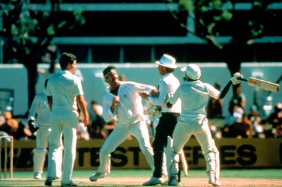 Infamous confrontation: Javed Miandad and Dennis Lillee at the WACA, November 1981
