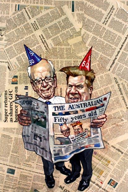 Newspaper legends… Rupert Murdoch with Chris Mitchell