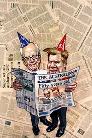 Newspaper legends… Rupert Murdoch with Chris Mitchell