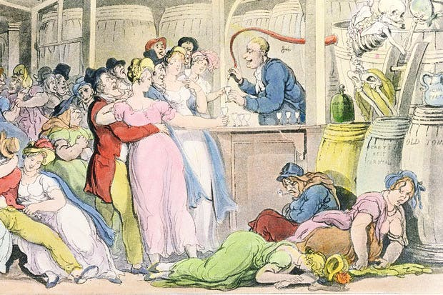 'Some find their death by swords and bullets; and some by fluids down the gullet'. Thomas Rowlandson's illustration of 'The English Dance of Death' by William Combe, 1815 — a satire on the evils of drinking gin