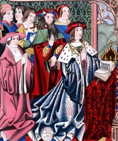 Henry VI did at least fulfil one function of kingship — that of 'sacerdos'. Kneeling behind him is his uncle Henry Cardinal Beaufort, and standing (bearded) is another uncle, the 'good Duke' Humphrey