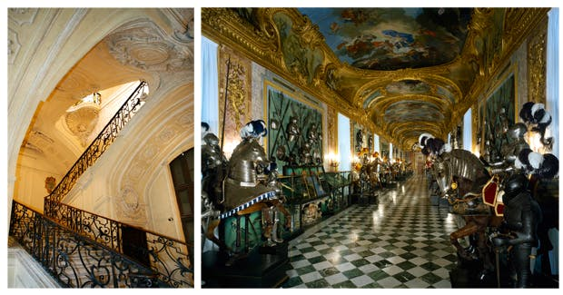Left: Scalone Juvarriano delle Forbici, a gravity-defying switchback flight of fancy. Right: Interior of the Royal Armoury, which offers a breathtaking canter through the history of human weaponry