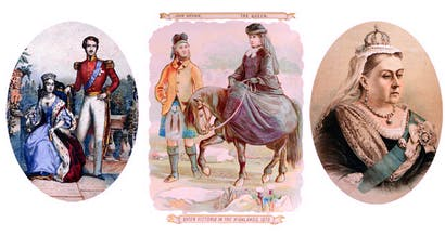 Scenes from a long life. Left to right: the vulnerable young queen, in thrall to Prince Albert; overcoming her demons with the help of John Brown — depicted in a popular souvenir cut-out; and the matriarch as Empress of India