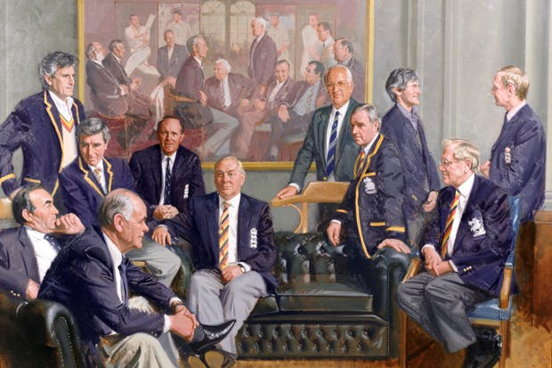 'Conversation Piece', 1997, by Andrew Festing, Marylebone Cricket Club, featuring: Geoffrey Boycott (Yorkshire), A.P.E. Knott and D.L. Underwood (Kent); middle row, F.J. Titmus (Middlesex), R. Illingworth (Yorkshire and Leicestershire), D.L. Amiss and M.J.K. Smith (Warwickshire), front row, J.H. Edrich (Surrey) and D.B. Close (Yorkshire and Somerset); the first conversation piece is in the background