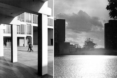 The many faces of Essex: it was the architects' intention to create 'Something Fierce' — a designed environment that was actively stimulating. ALL PHOTOGRAPHS FROM ESSEX UNIVERSITY'S 50TH ANNIVERSARY BROCHURE