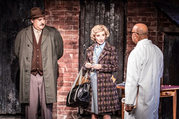 Jane Horrocks as the slovenly matriarch still fond of her bullying husband George ('East is East' playwright Ayub Khan Din, left)