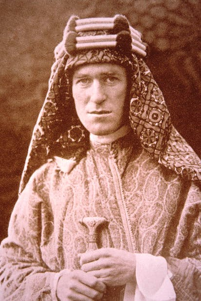 The young T.E. Lawrence in Arab dress