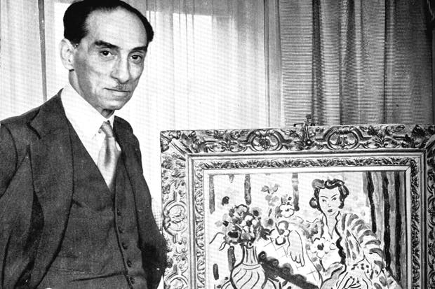 Paul Rosenberg with a Matisse painting in the 1930s