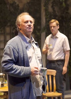 The Vertical Hour at Park Theatre. Peter Davison (Oliver) and Finlay Robertson (Philip). Photo credit TEA Films (3)