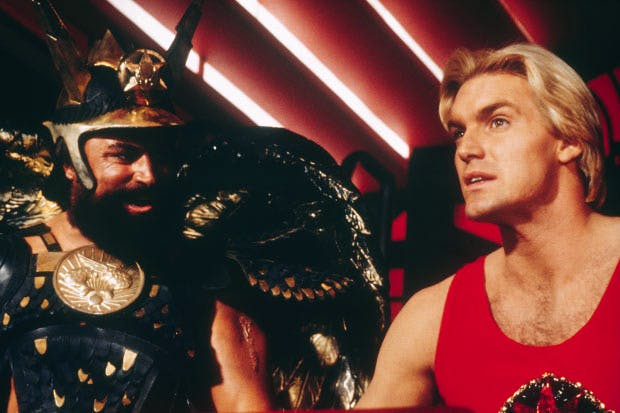 Brian Blessed as Prince Vultan and Sam J. Jones as Flash in 'Flash Gordon', part of the BFI 'Sci-Fi: Days of Fear and Wonder' season