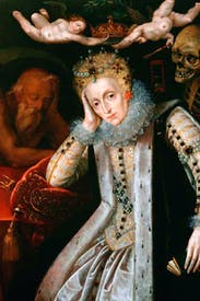 The divine mask slips: Queen Elizabeth I in old age, weary after a lifetime of inaction (English school)