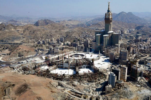 An unholy cross between Big Ben and Las Vegas, the Makkah Royal Clock Tower stands on an estimated 400 sites of cultural and historical importance