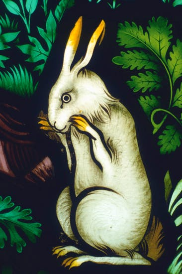 From 'The Temptation of Eve': detail of glass from Ely Cathedral designed by Pugin, 1858