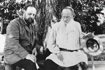 Tolstoy with his secretary at Yasnaya Polyana, 1906