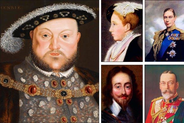 Henry VIII, Edward VI, Charles I, George VI and George V