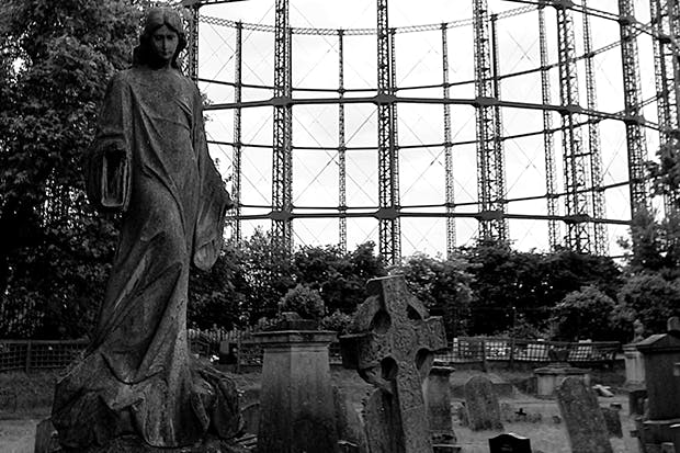 Live-action graphic of a city's beating heart: gasholder at Kensal Green